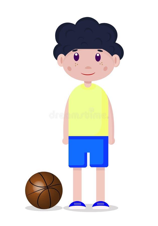 Dibujo del vector de un jugador de básquet adolescente con la bola stock de ilustración