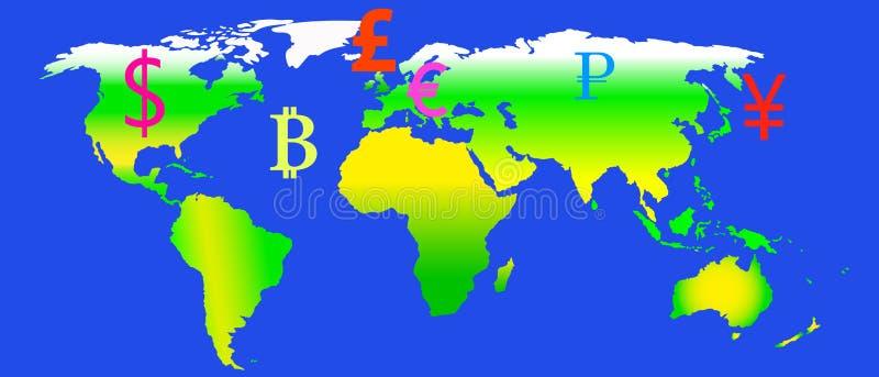 Dibujo del vector de un mapa del mundo y de los símbolos de moneda en un fondo azul stock de ilustración