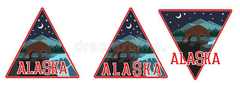 Dibujo del vector de un oso grizzly en la noche en el bosque del invierno imagen de archivo libre de regalías