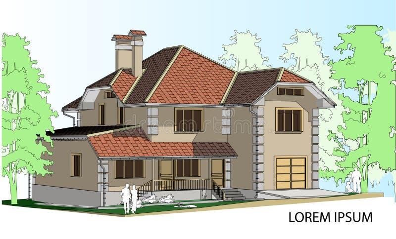 Dibujo del vector de una casa en el futuro la casa con un tejado de pizarra dibujo de una casa - La casa en el tejado ...