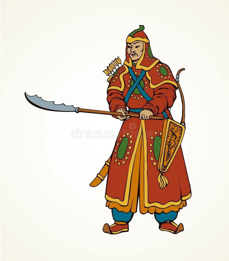 Dibujo del vector del guerrero chino stock de ilustración