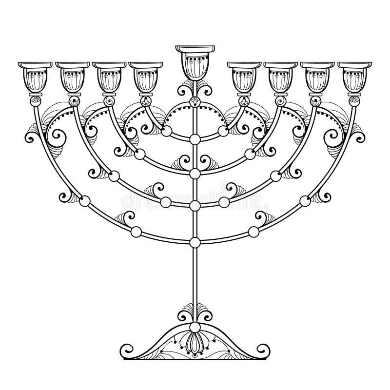 Dibujo del vector del menorah de Jánuca del esquema o del candelabro de Chanukiah en negro aislado en el fondo blanco Menora ador stock de ilustración