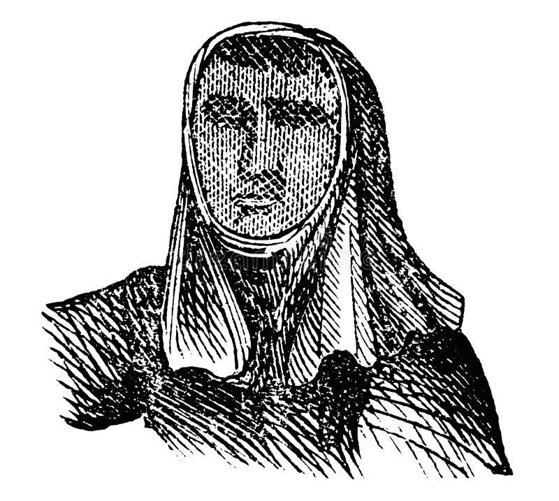 Dibujo del vector del vintage o ejemplo de grabado antiguo del apicultor con la cubierta protectora de la cabeza y de la cara stock de ilustración