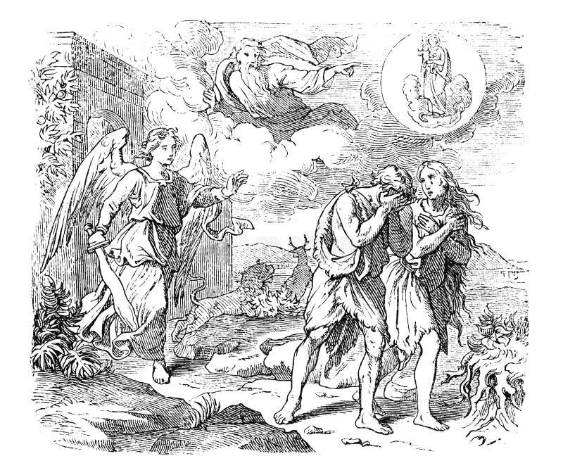 Dibujo del vintage de Adán y Eva y expulsión bíblicos de Paradise stock de ilustración