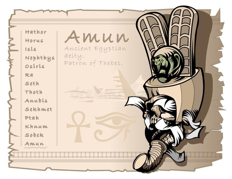 Dibujo del vintage para el tatuaje y la camiseta, en el tema de dioses, del cráneo y de la momia egipcios Dios Amun stock de ilustración