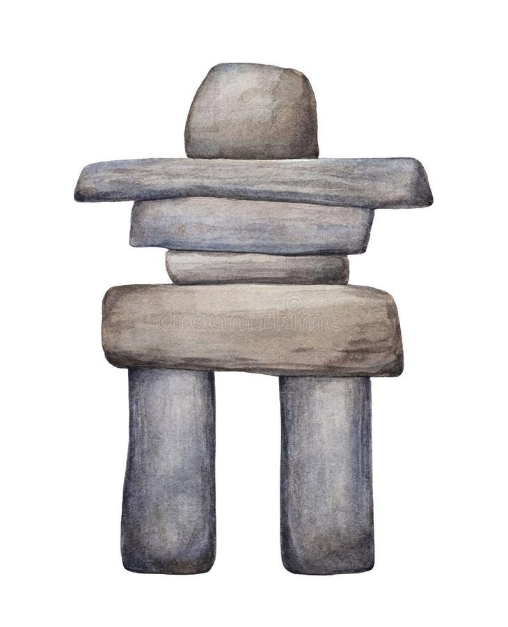 Dibujo del watercolour de Inuksuk stock de ilustración