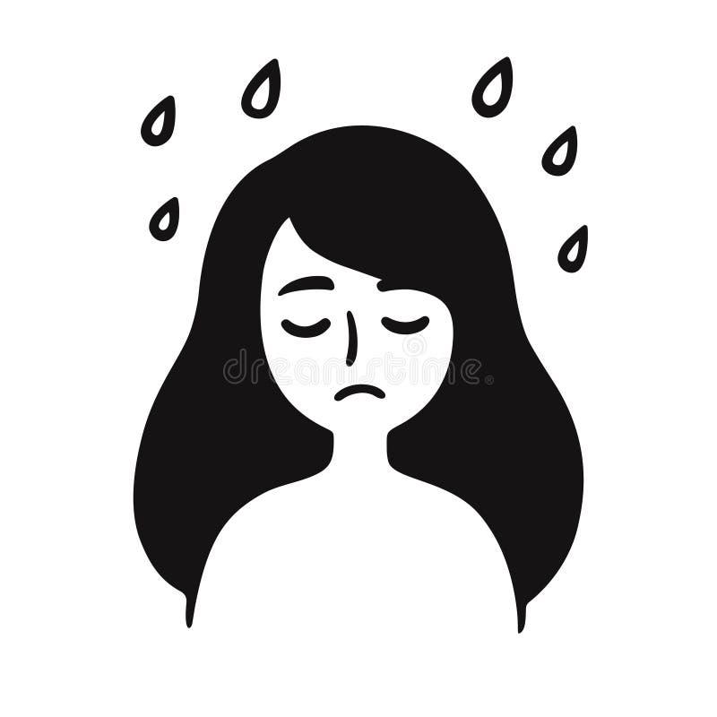 Dibujo deprimido de la muchacha stock de ilustración