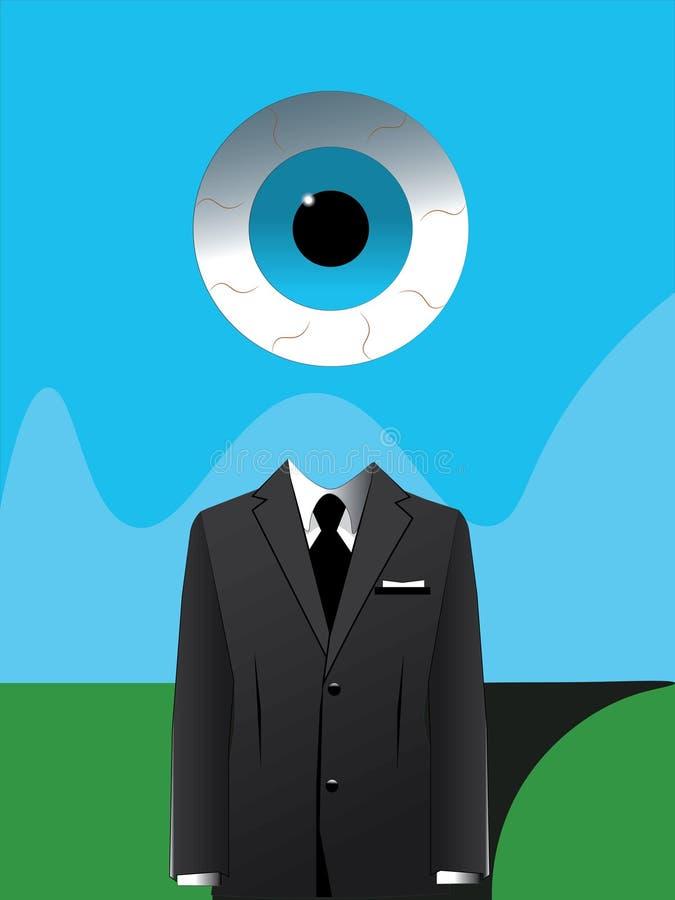 Dibujo digital abstracto de un traje formal de los hombres y el ojo de la providencia Dibujo del surrealismo libre illustration