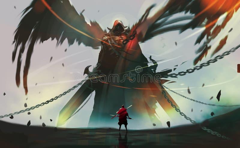 Dibujo digital pintar estilo caballero contra ángel oscuro listo para luchar ilustración del vector
