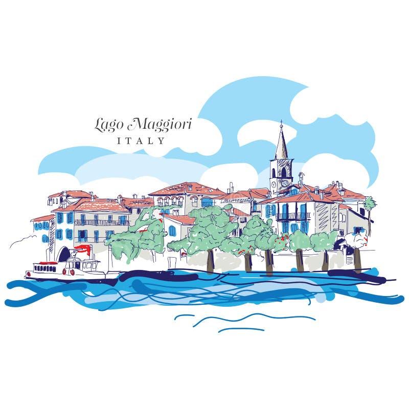 Dibujo digital a pulso de Lago Maggiore, Italia stock de ilustración