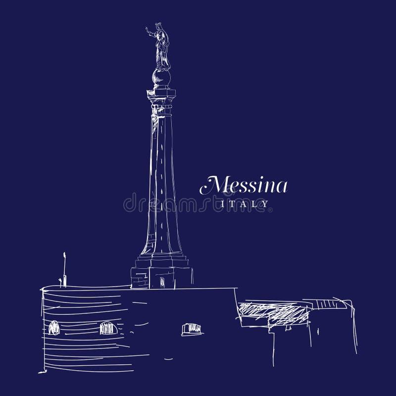 Dibujo digital a pulso de Messina, Italia libre illustration