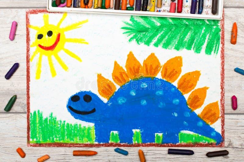 Dibujo: Dinosaurio sonriente Stegosaurus azul grande libre illustration