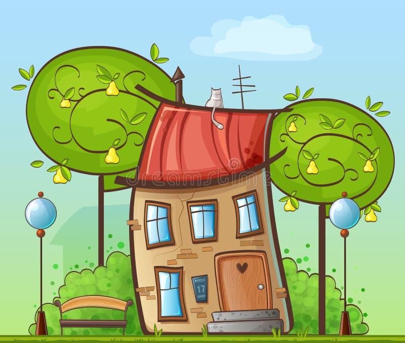 Dibujo divertido de la historieta - casa en el patio con los árboles, las lámparas de calle y los bancos stock de ilustración