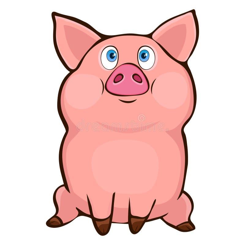 Dibujo divertido lindo de la mano del cerdo, personaje de dibujos animados, ejemplo del vector, etiqueta engomada, impresión, ele ilustración del vector