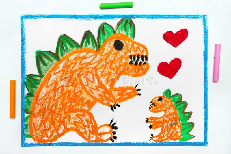 Dibujo: Dos monstruos lindos, madre y su niño stock de ilustración