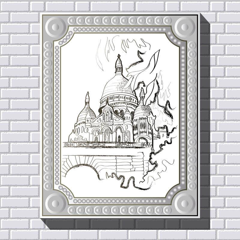 Dibujo En Una Pared De Ladrillo En El Marco 37 Ilustración del ...