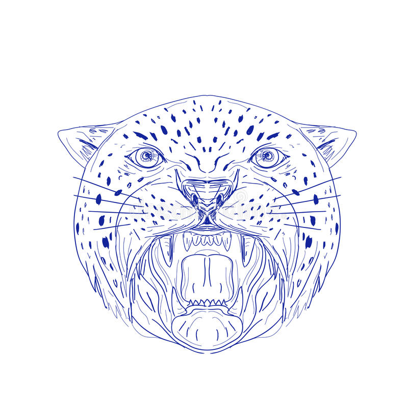 Dibujo enojado de la cabeza de Jaguar stock de ilustración