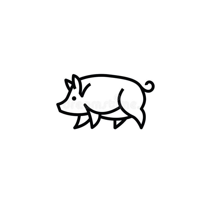 Dibujo estilizado linear de los cerdos del cerdo libre illustration