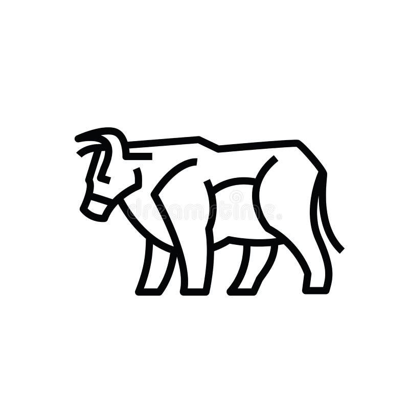 Dibujo estilizado linear del buey o de la vaca del toro ilustración del vector