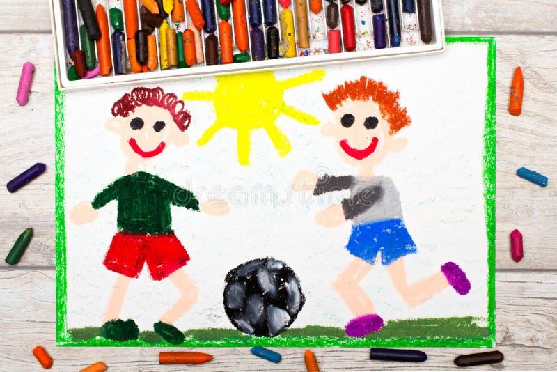 dibujo: Fútbol del juego de dos niños pequeños BALOMPIÉ (3) stock de ilustración
