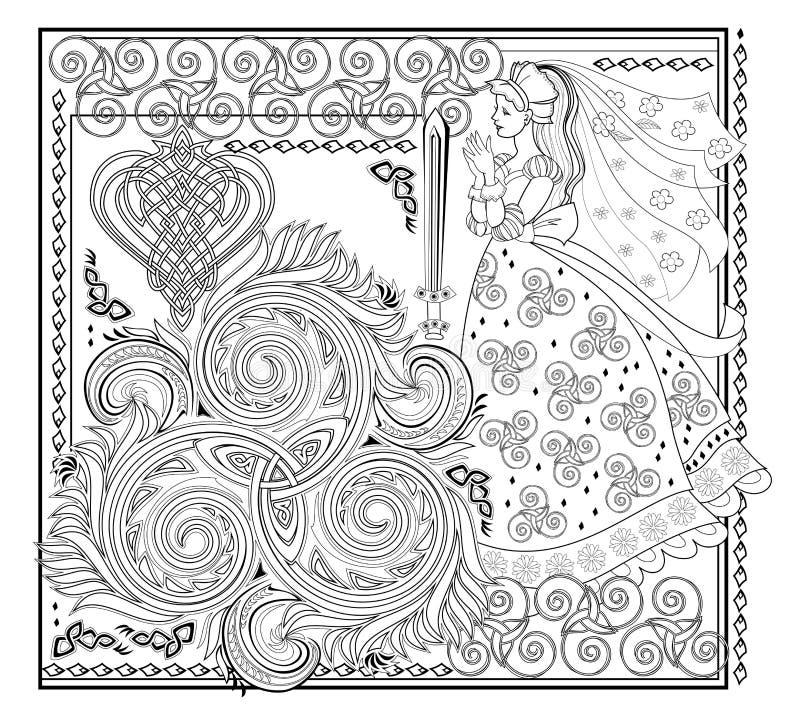 Dibujo fantástico del hermoso hada celta y decoración medieval Página en blanco y negro para el libro de colores Fondo ornamentad stock de ilustración