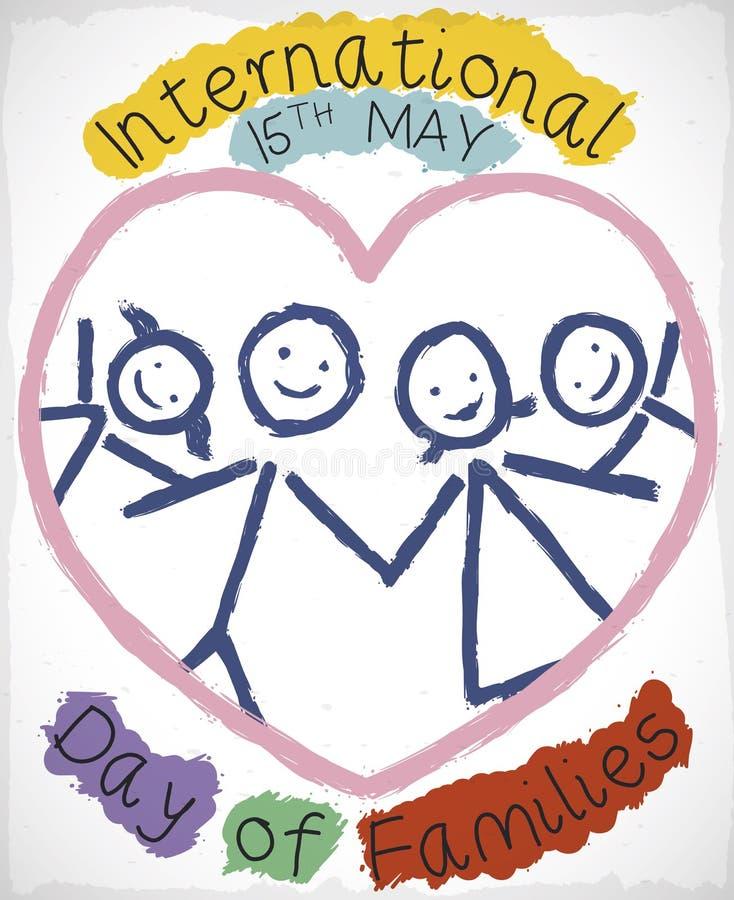 Dibujo feliz de la familia dentro del corazón que celebra el día internacional de familias, ejemplo del vector libre illustration