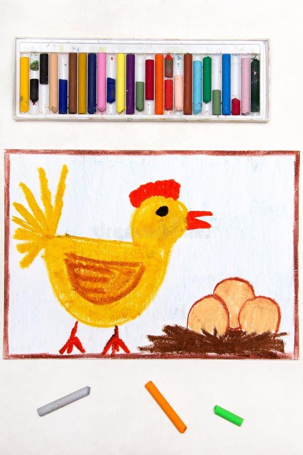 Dibujo: gallina de empollamiento y tres huevos en una jerarquía stock de ilustración