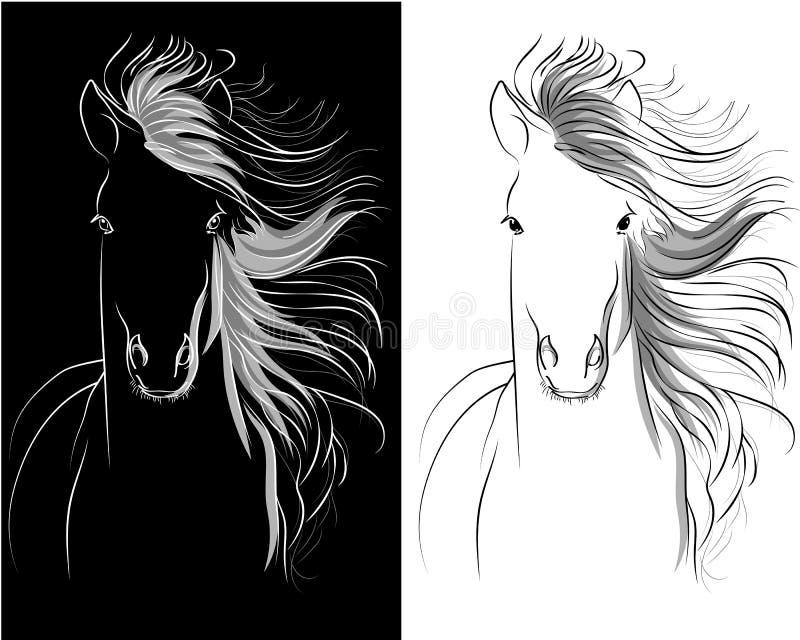 Dibujo gráfico de la cabeza de caballo ilustración del vector