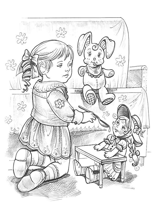 Dibujo gráfico de una niña que juega con la muñeca ilustración del vector