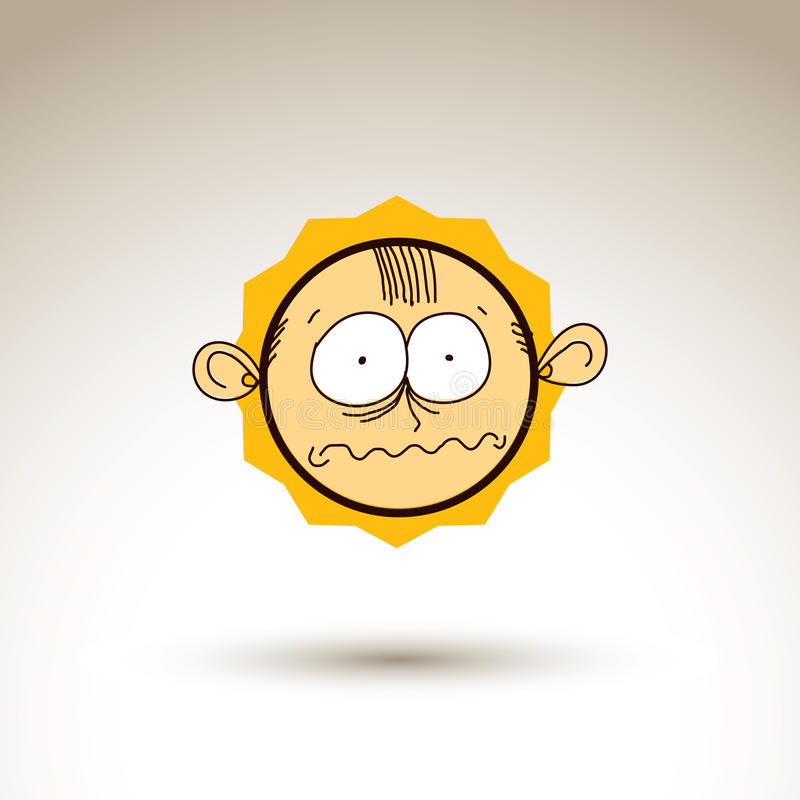 Dibujo gráfico de vector de la cara de la personalidad, portrai masculino extraño stock de ilustración