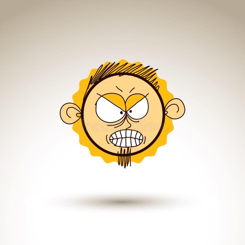 Dibujo gráfico de vector de la cara enojada de la persona, varón extraño libre illustration