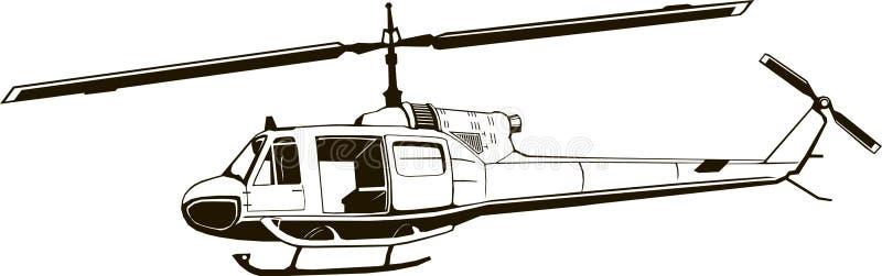 Dibujo gráfico de vector del helicóptero, monograma, período de la guerra de Vietnam, color aislado, negro stock de ilustración