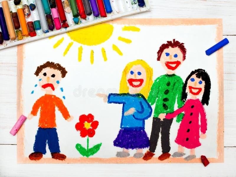 Dibujo: Grupo de niños que se ríen de un muchacho gritador ilustración del vector