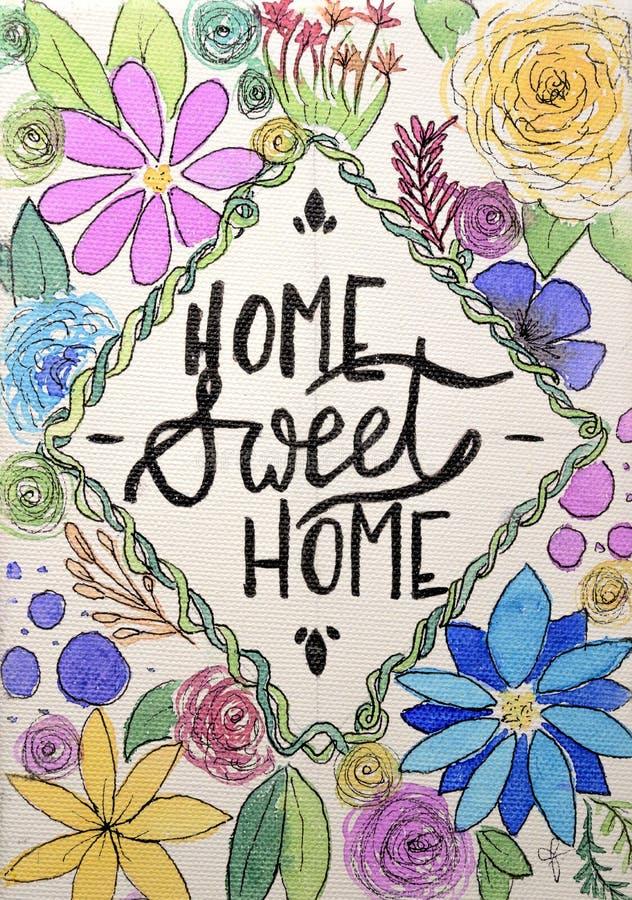 Dibujo hecho a mano divertido del hogar dulce casero ilustración del vector