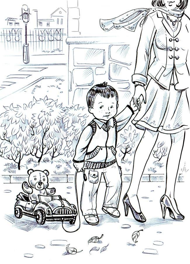 dibujo hermoso de la historieta de un pequeño muchacho y de su madre que caminan abajo de la calle en la ciudad de la primavera libre illustration