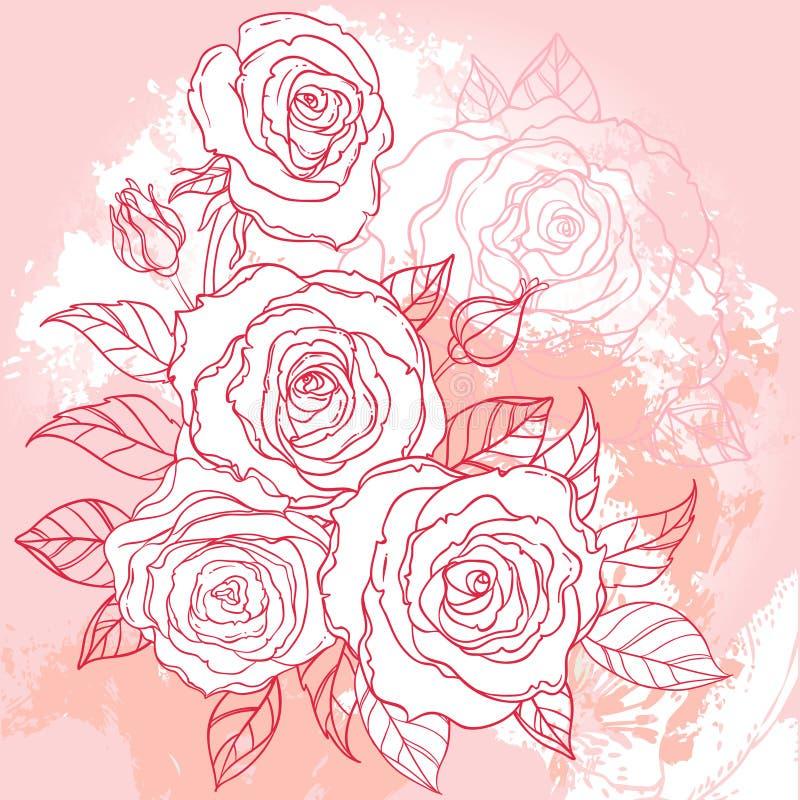 Dibujo hermoso del ramo de las rosas en fondo beige del grunge Mano ilustración del vector