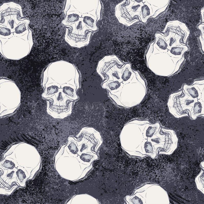 Dibujo incompleto del estilo del cráneo humano, cabeza humana, patte inconsútil stock de ilustración