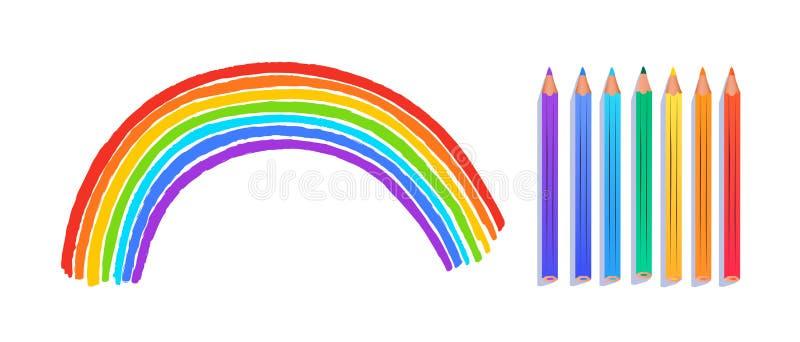 Dibujo infantil de arco iris stock de ilustración