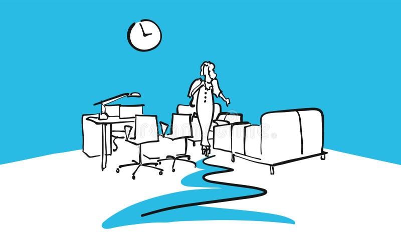 Dibujo interior de la oficina con la mujer ilustración del vector