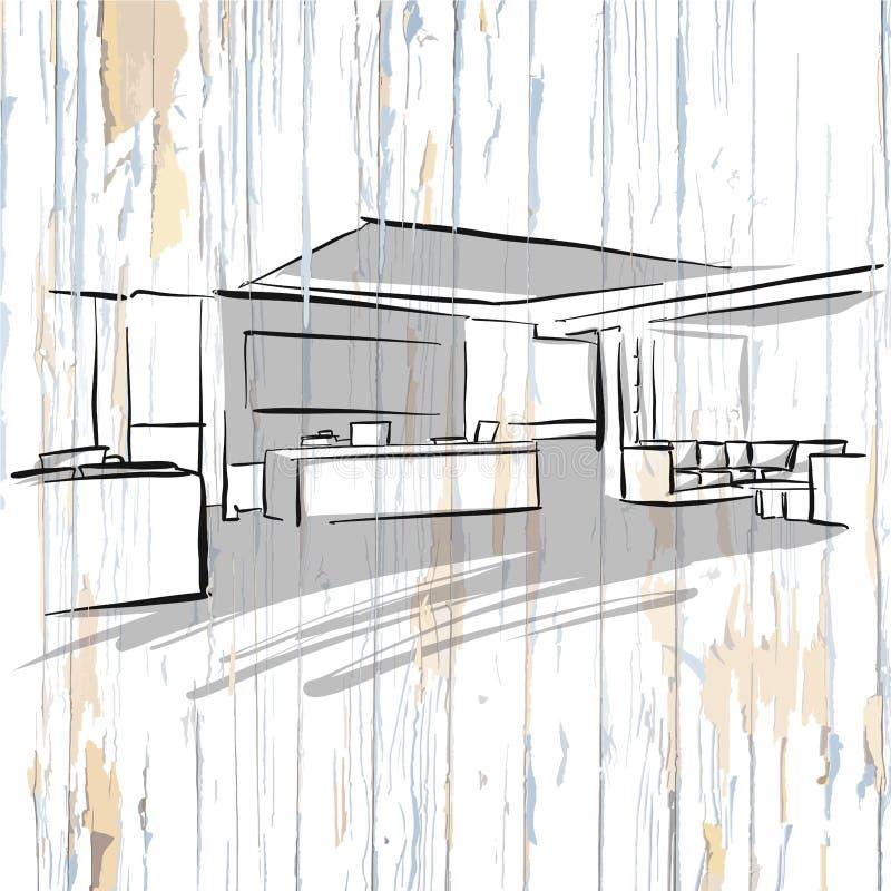 Dibujo interior de la oficina en fondo de madera ilustración del vector
