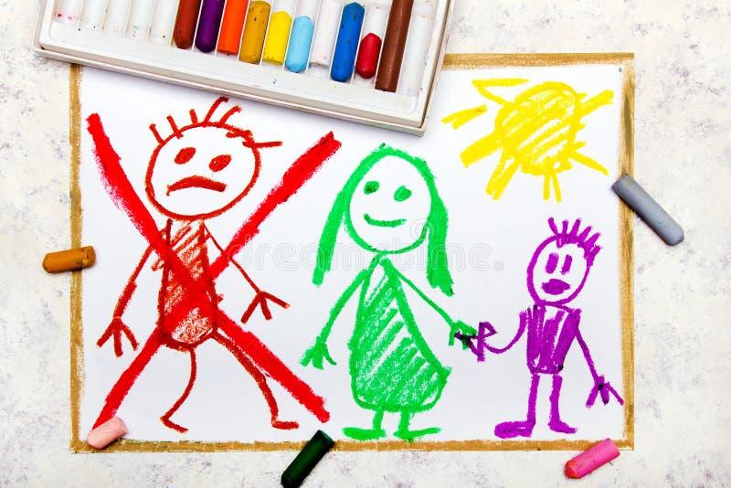 Dibujo: La representación de la boda se rompe para arriba o se divorcia libre illustration