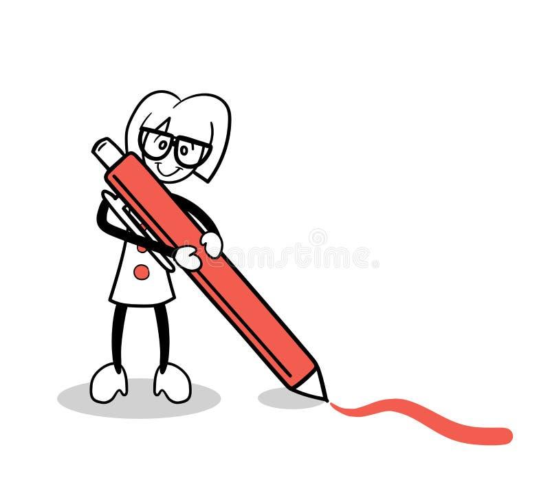 Dibujo lindo de la historieta con la pluma roja ilustración del vector