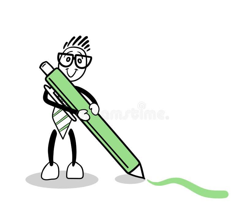 Dibujo lindo de la historieta con la pluma verde libre illustration