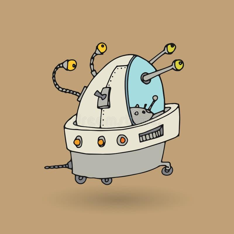 Dibujo lindo del garabato del robot ilustración del vector