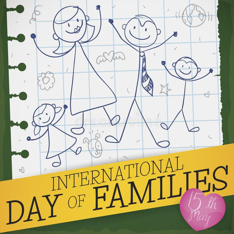 Dibujo lindo en el papel del cuaderno para el día internacional de familias, ejemplo del vector ilustración del vector