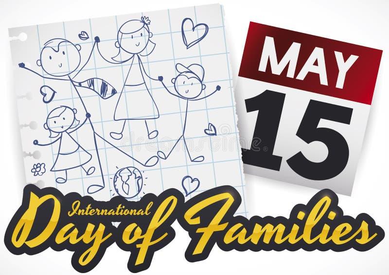 Dibujo lindo y calendario de la familia para celebrar el día de familias, ejemplo del vector ilustración del vector