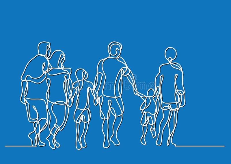 Dibujo lineal continuo de caminar feliz de la familia extensa ilustración del vector