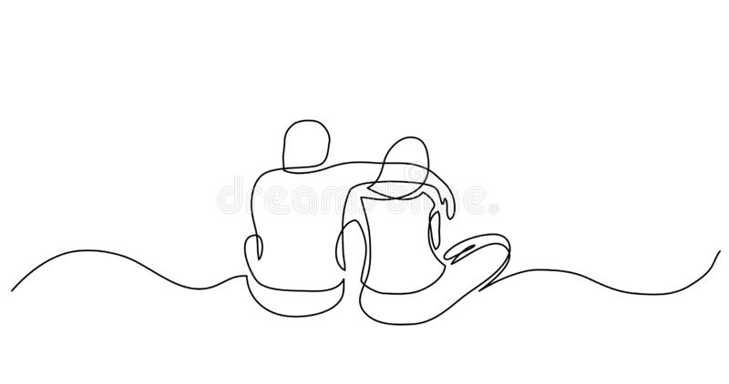 Dibujo lineal continuo de dos amigos cercanos que se sientan junto abrazándose libre illustration
