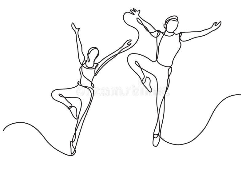 Dibujo lineal continuo de dos bailarines de ballet libre illustration