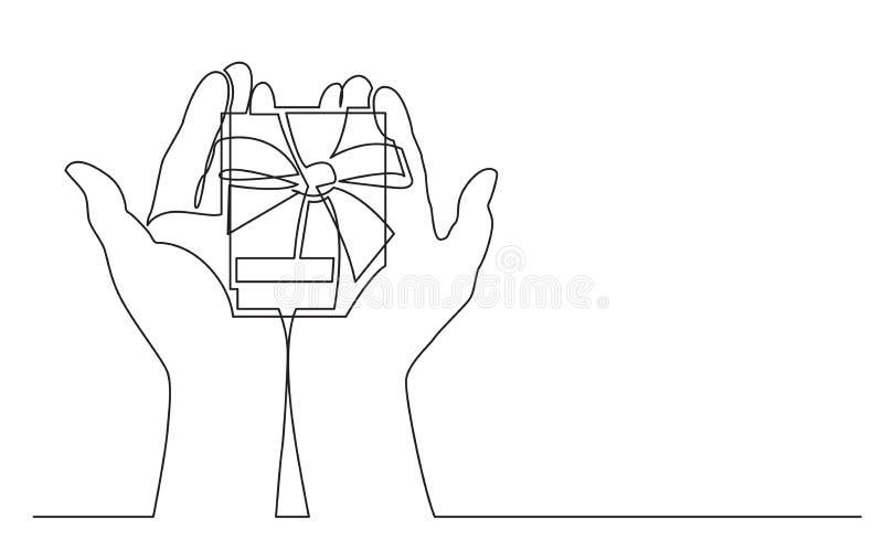 Dibujo lineal continuo de dos manos que sostienen la caja de regalo con la cinta libre illustration